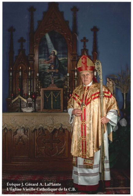 Bishop LaPlante with Chasuble french inscription